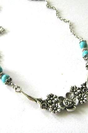 Antiqued silver flower necklace blue howlite turquoise jewelry