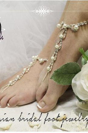 #pearlbarefootsandals PARISIAN elegant beach wedding Barefoot sandals -