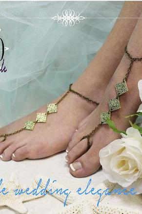 ENCHANTMENT Barefoot sandals metal womens anklets beach weddings slave sandal foot jewelry bridesmaids Catherine Cole Studio BF12
