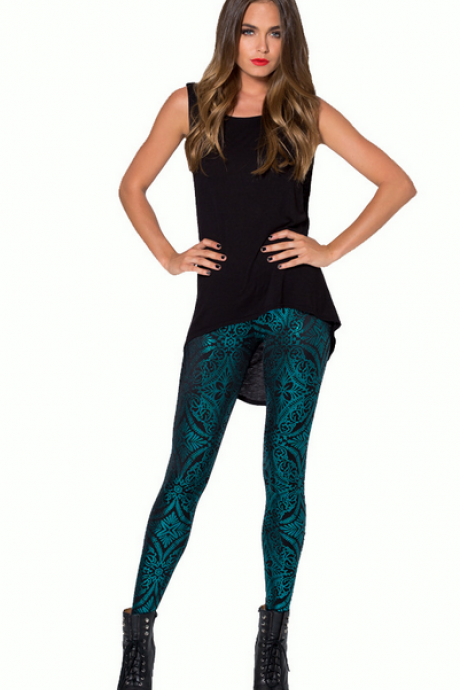Geometric pattern bronzing fashion leggings