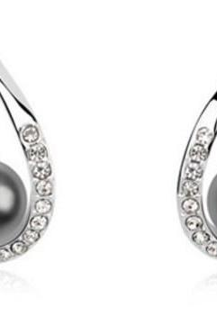 Black Earrings Wedding Black Pearl Earrings with Cubic Zirconia