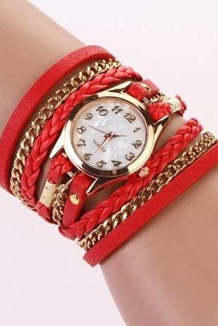 Chain and leather bracelet wrap schoolgirl red watch