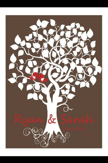 Wedding signature tree, wedding guestbook alternative, 16x20 75 signatures