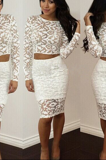 HOT LACE TWO PIECE FASHION DRESS