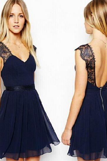 V Neck Lace and Chiffon Deep Blue Sleeveless Dress
