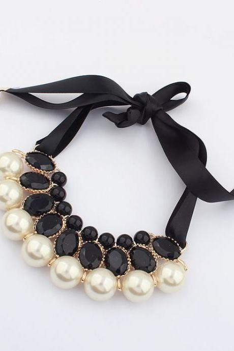 Dress imitation pearl fashion prom girl necklace