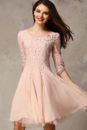 Classy Lace And Chiffon Long Sleeve Dress In Pink And Black