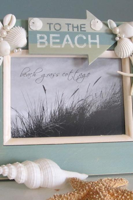 Beach Decor Seashell Frame - Nautical Decor Shell Frame with BEACH, 8x10 Aqua