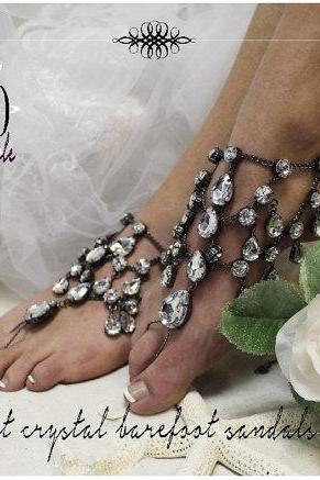 MIDNIGHT CRYSTAL Barefoot sandals foot jewelry wedding shoes bridal barefoot beach wedding footless sandles by Catherine Cole Studio SJ5
