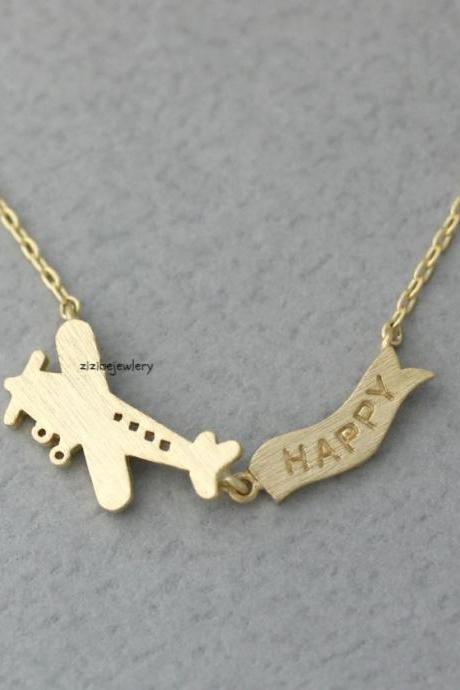 Happy banner Flight Airplane neckalce in 3 colors, N0369K