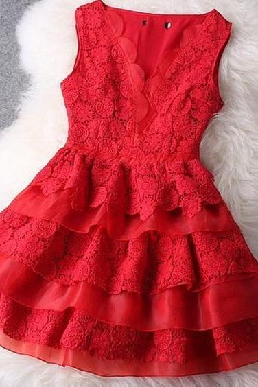 SEXY RED LACE SO NICE DRESS
