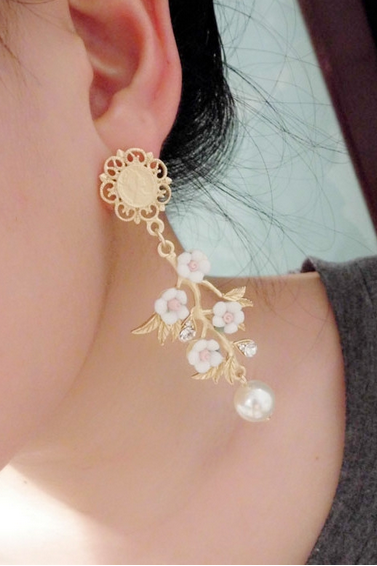 Matte Gold Orchid Wedding Earrings Flower Dangle Earrings