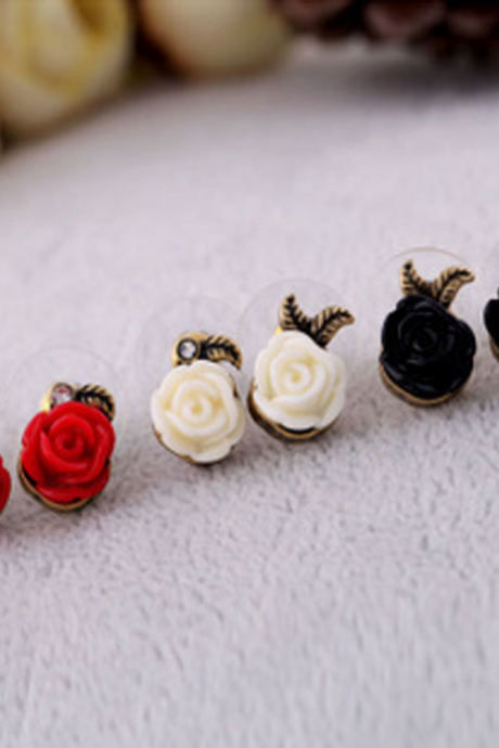 Cream White red black Rose Post Earrings. Non Allergic Titanium Posts