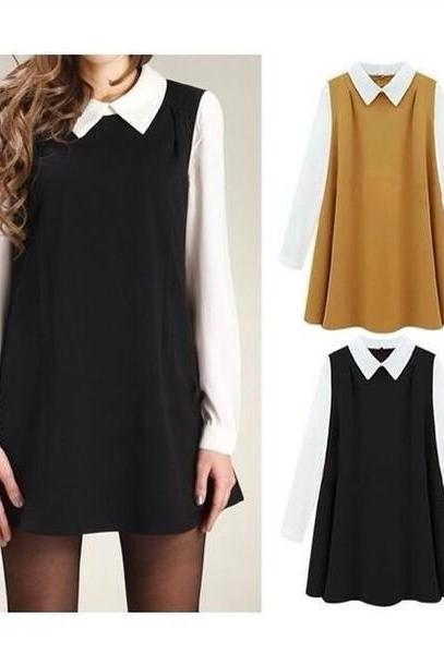 CHIFFON LOOSE DOLL LONG-SLEEVED DRESS