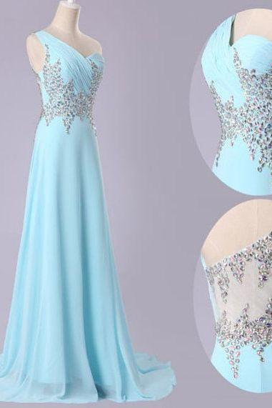 Handmade One Shoulder Blue Chiffon A-line Prom Gown 2015 with Beadings, High Quality Prom Dresses 2015, Prom Gown, Bridesmaid Dresses