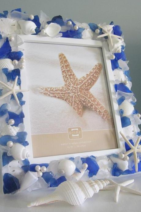 Beach Decor Seashell Frame - Sea Glass Nautical Shell Frame w Starfish & Pearls - 5x7 Blue