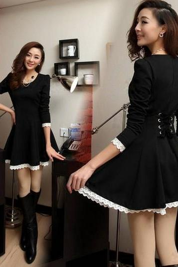 FASHION BLACK LONG SLEEVE NICE DRESS