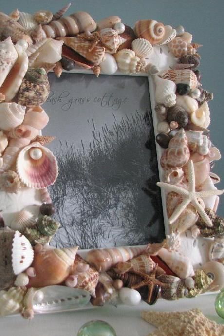 Beach Decor Seashell Frames - Nautical Decor Natural Shell Frame w Starfish & Pearls, 5x7