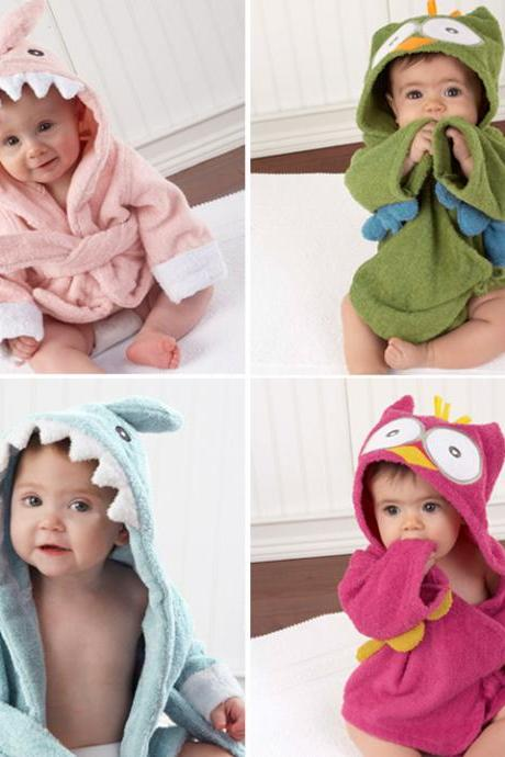 Toddler Girl Boy Animal Cartoon Pattern Bathrobe Towel 0-2 Years Old