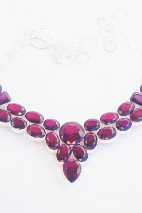 Milanblocks Collar Semi-Precious Stone Gemstone Necklace Purple Round Fine-Jewelry Cut Statement Elegant Sparkling Necklace