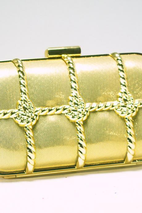 Milanblocks Binding Metal Minaudiere Clutch Evening Knot Runway Fashion Party Handbags purses Bridal Super Fashion Gold Strappy Bags