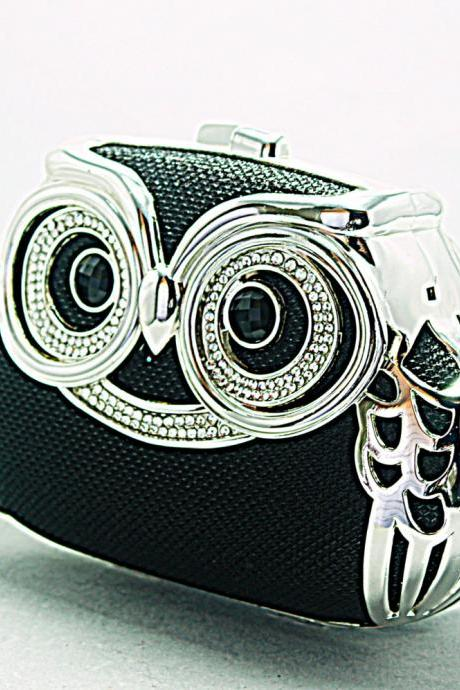 Milanblocks Minaudiere Embellished Party Owl Shape Minaudiere Strappy Hot Crystal Clutch Women Fashion Black Designer Bag Purse