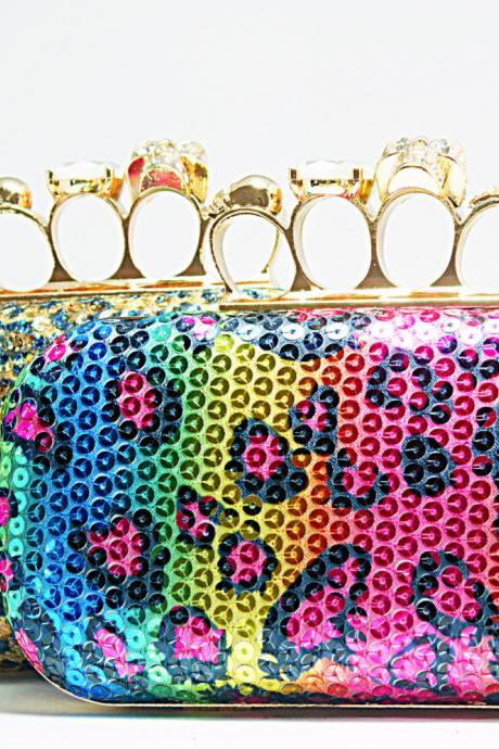 Skull Knuckle Ring Animal Print Squins Custom Clutch Handbag Hot New Leopard Sex Hot Purse Runway Fashion Show Leopard Print Clutch