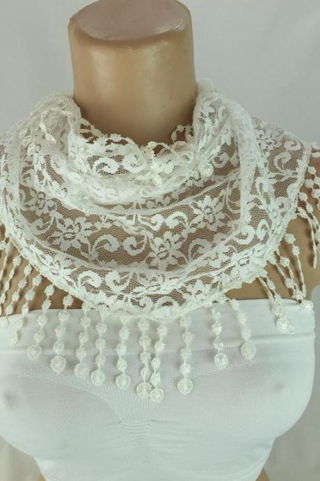 cream ivory lace scarf , off white cowl with lace trim, bridal scarf ,summer scarf, neck scarf, foulard,scarflette,bandana