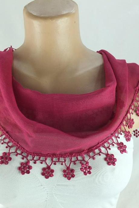 Fuchsia-dark pink scarf, fringed cotton scarf , cowl with lace trim,neckwarmer, scarf necklace, bridesmate gift, foulard,scarflette,