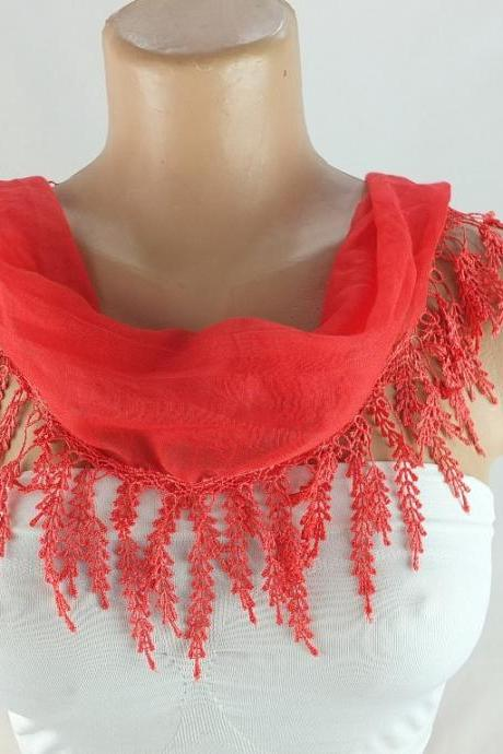 Coral Red scarf , lace trim scarf, fringed scarf, Cotton foulard, Neck scarf, cotton foulard, gift ideas for her