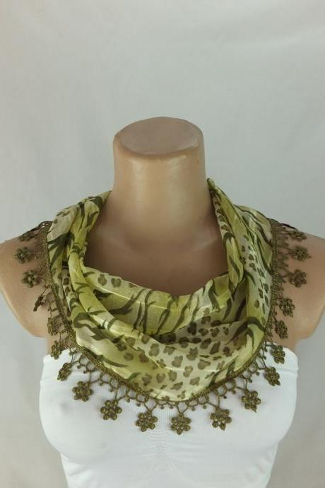 Green scarf, fashion scarf, chiffon cowl with polyester lace trim,summer scarf, neck scarf, green foulard,scarflette,bandana