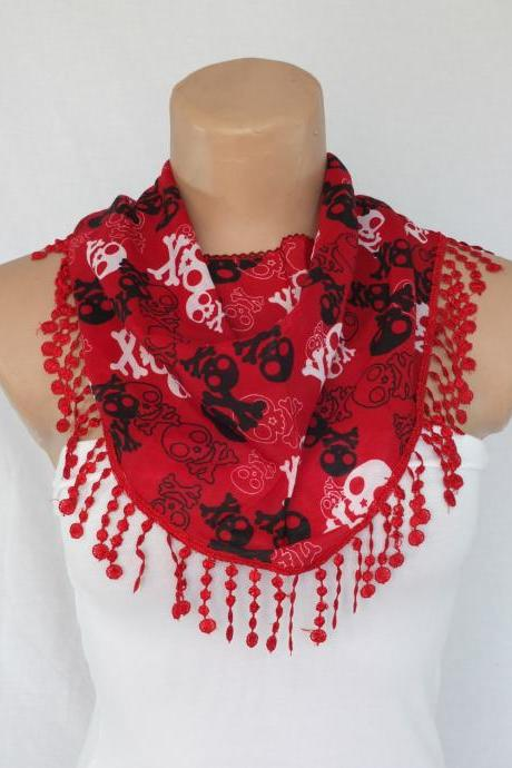 Skulls scarf , red fashion scarf, cowl with lace trim,summer scarf, bib scarf , foulard,scarflette,