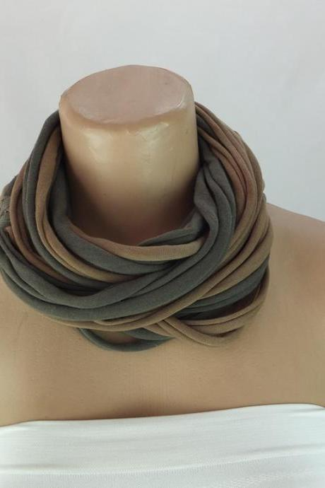 Infinity Scarf, Khaki green and taupe Long ring scarf, Fabric Necklace, Scarf necklace, Gift ideas for her , Chunky tshirt scarf