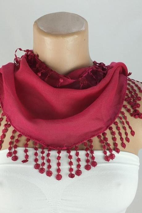 Fuchsia-dark pink scarf, fringed cotton , cowl with lace trim,neckwarmer, scarf necklace, bridesmate gift, foulard,scarflette,