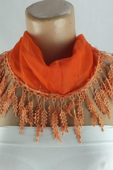 Pumpkin orange scarf , lace trim scarf, fringed scarf, Cotton foulard, Neck scarf, cotton foulard, gift ideas for her