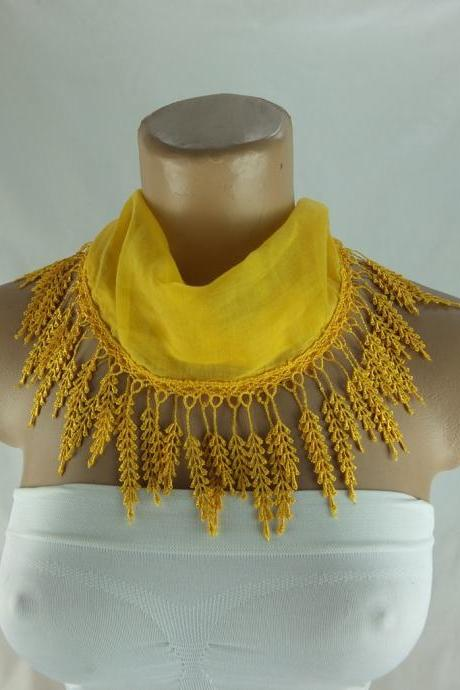 Dark yellow scarf , lace trim scarf, fringed scarf, Cotton foulard, Neck scarf, cotton foulard, gift ideas for her