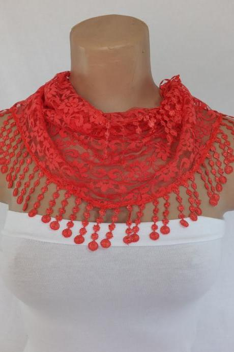 Coral Red lace scarf , cowl with lace trim,summer scarf, neck scarf, foulard,scarflette,bandana