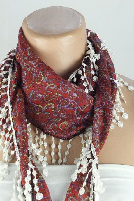 Bordeaux paisley scarf, fringed scarf, cotton scarf, cowl with polyester trim,neckwarmer, scarf necklace, foulard, scarflette,gift for her