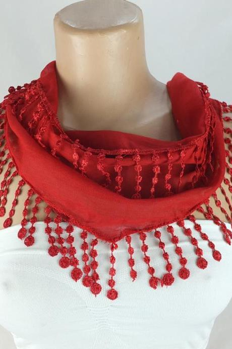Dark red scarf, cotton scarf, cowl with polyester trim, Cotton neckwarmer, scarf necklace, womens foulard,scarflette, Christmast gift