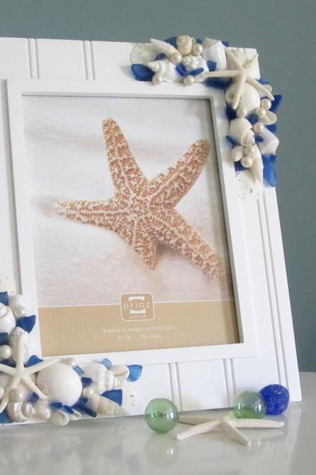 Beach Frame w Sea Glass - Beach Decor Nautical Shell Frame w Beach Glass, 8x10 Blue