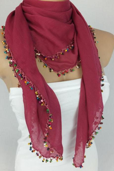 Fuchsia -cherry scarf with crocheted bead edges, Square head scarf,traditional Turkish scarf shawl, gift for her,