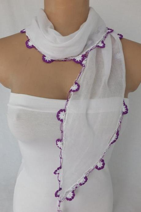 White cotton scarf, cowl with crochet flowers , Turkish oya scarf,scarf necklace, foulard,scarflette,