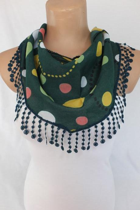 Green dots scarf,dark green fashion scarf, cowl with lace trim,summer scarf, bib scarf , foulard,scarflette,