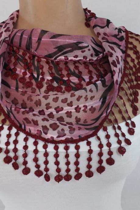 Burgundy chiffon scarf, fashion scarf, cowl with lace flower trim,summer scarf, scarf necklace, foulard,scarflette,bandana