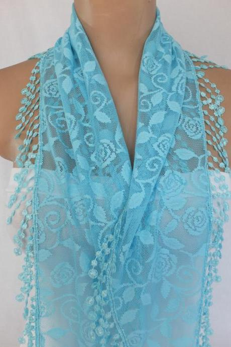 Light blue lace scarf , cowl with lace trim,summer scarf, neck scarf, foulard,scarflette,bandana