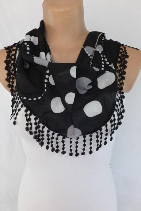 Black dots scarf, black fashion scarf, cowl with lace trim,summer scarf, bib scarf , foulard,scarflette,