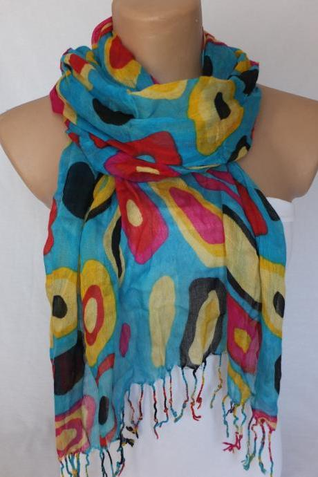 Long fringed shawl scarf , womans blue scarf, multicolor scarf, fabric shawl, gift for her
