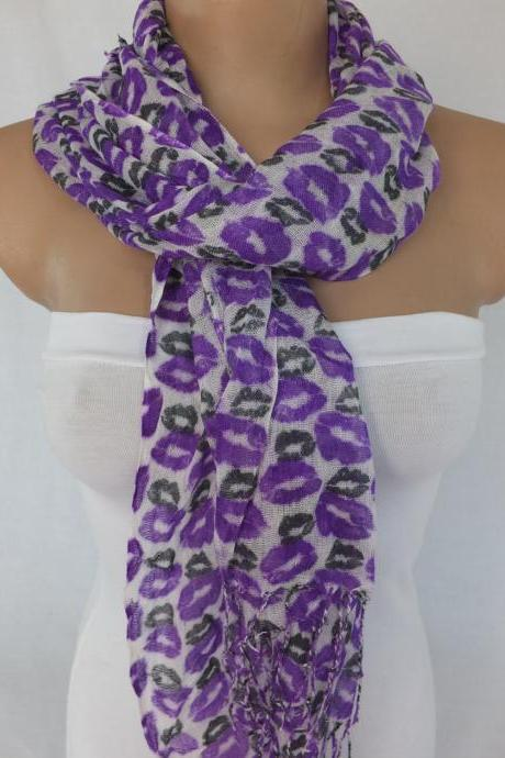Purple scarf, lips printed scarf, long scarf woman fashion scarf, colorful scarf, fabric shawl, gift for her