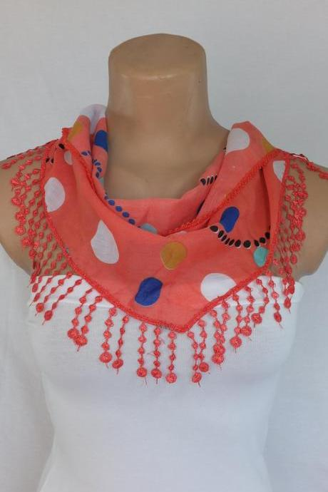 Red dots scarf,coral red fashion scarf, cowl with lace trim,summer scarf, bib scarf , foulard,scarflette,