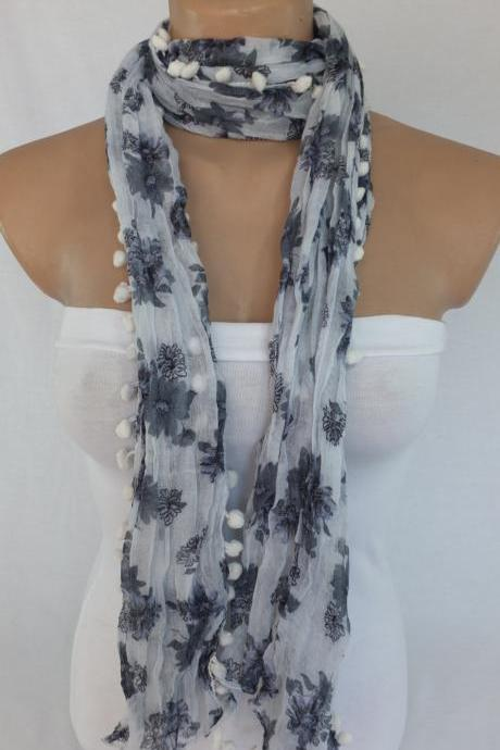 Gray scarf, floral gray scarf with pompom trim, woman fashion scarf, fabric shawl, beach wrap,gift for her